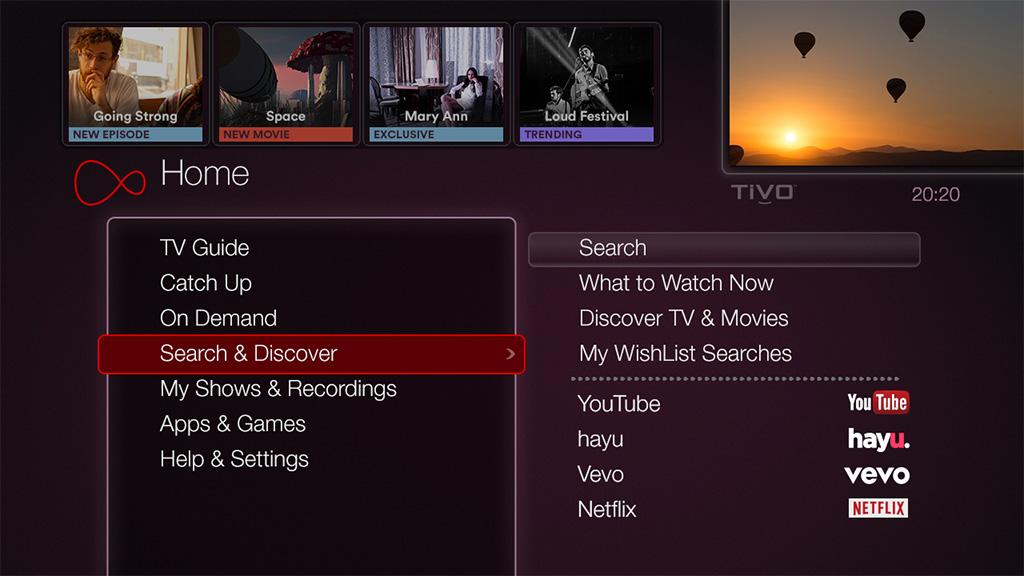 Virgin Media TiVo user interface.