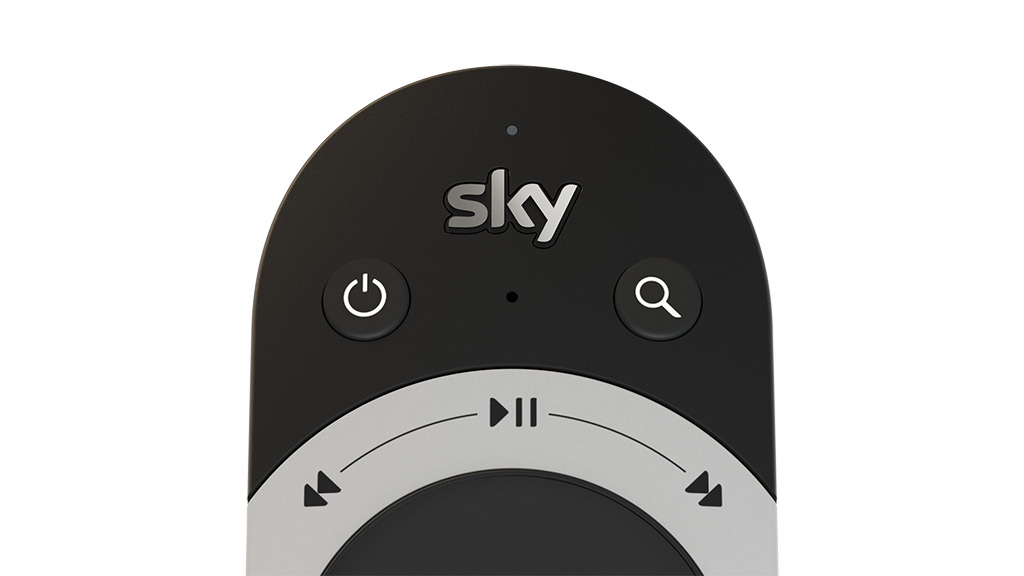 Sky Q touch remote, showing microphone beneath the Sky logo.