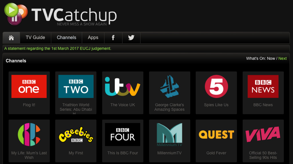 TV Catchup - channel page