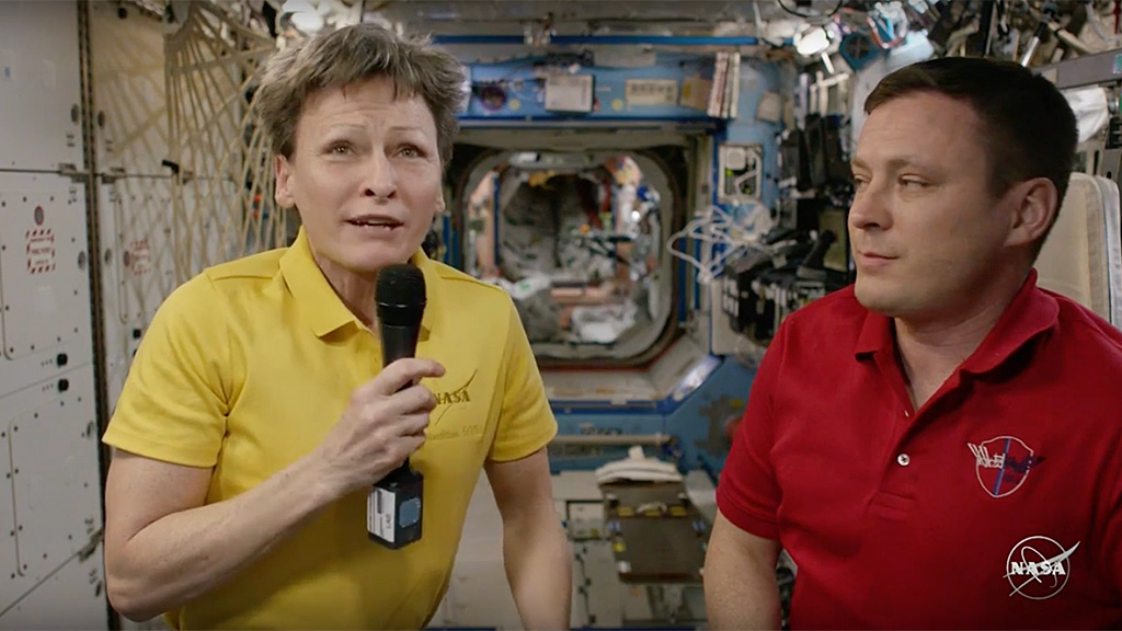 Live relay from International Space Station with NASA astronauts Peggy Whitson and Jack Fischer.