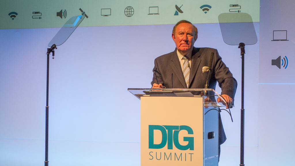 Andrew Neil, journalist and broadcaster, addressing the DTG Summit in London.