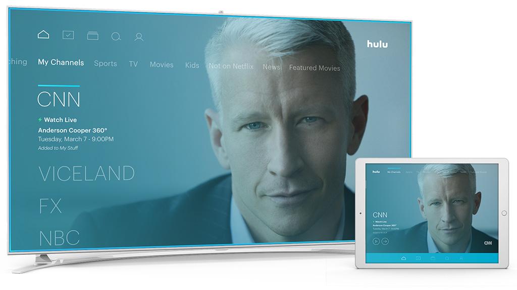 Hulu TV - My channels screen.