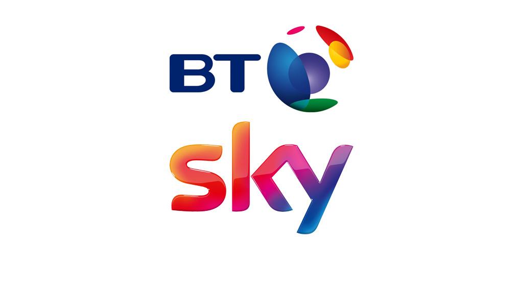BT and Sky logos.