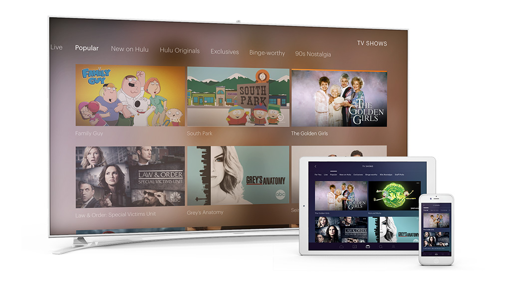 The new Hulu user experience, showing popular shows. Image: Hulu.