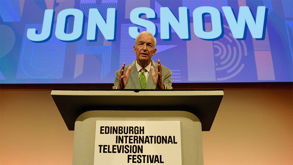 Broadcaster and journalist Jon Snow delivers the annual McTaggart Lecture at the Edinburgh International Television Festival.