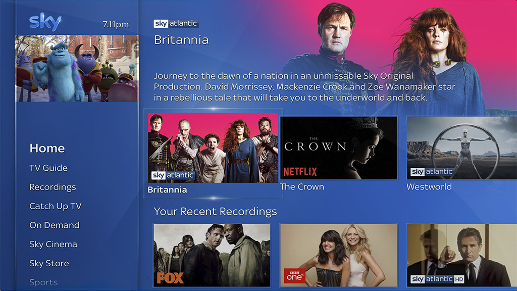 New Sky Q interface, incorporating Netflix. Image: Sky