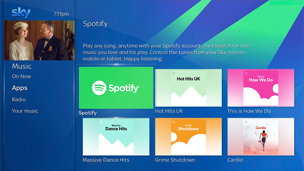 New Sky Q interface, incorporating Spotify. Image: Sky