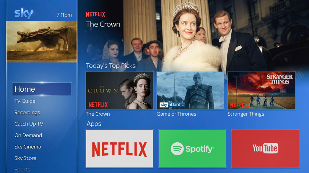 Sky Q interface integrating Netflix