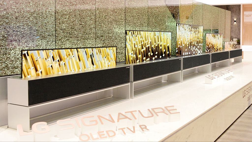 LG Signature R rollable OLED television on show at CES
