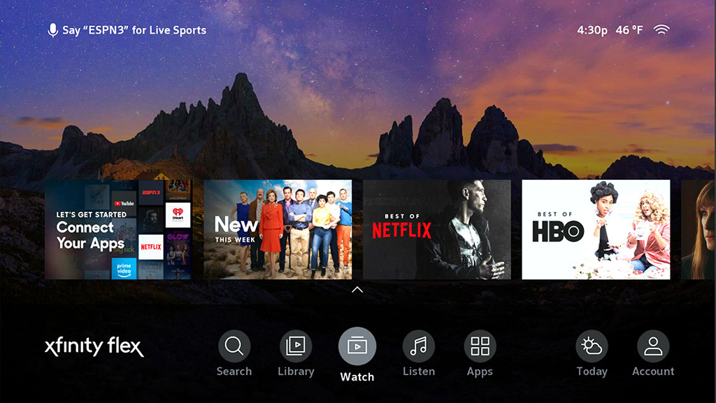 Comcast Comcast Xfinity Flex home screen