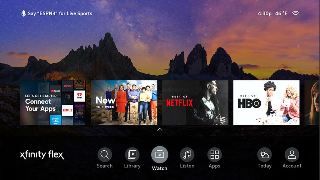 Comcast Comcast Xfinity Flex home screen