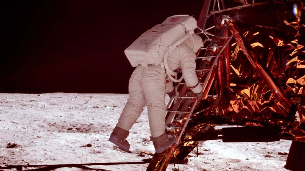Buzz Aldrin descending onto the moon.