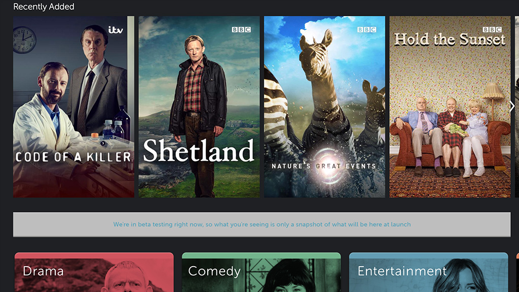 BritBox home screen - web
