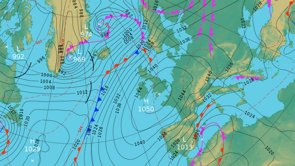 Synoptic forecast for 20 January 2020. Source: Met Office.