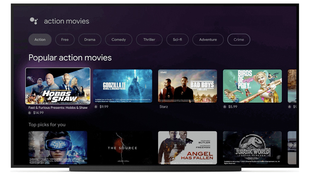 Google TV UI